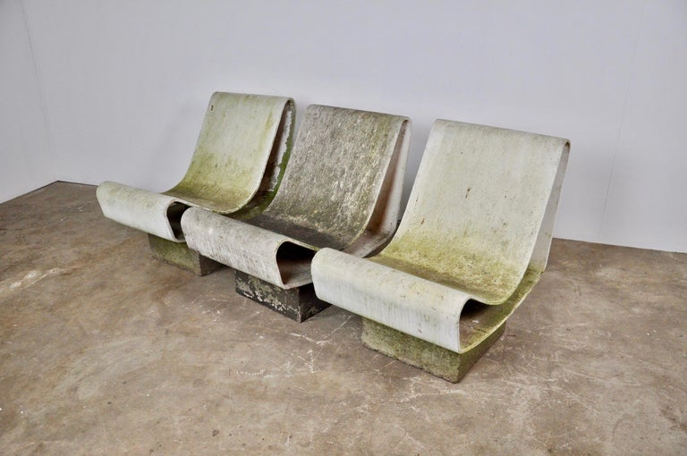 Swiss Set of Three Willy Guhl Loop Chairs on Concrete Pedestals For Sale