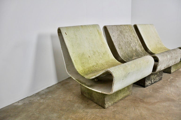 Set of Three Willy Guhl Loop Chairs on Concrete Pedestals In Good Condition For Sale In Los Angeles, CA