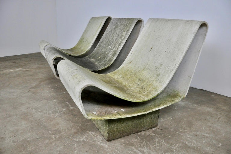 Mid-20th Century Set of Three Willy Guhl Loop Chairs on Concrete Pedestals For Sale