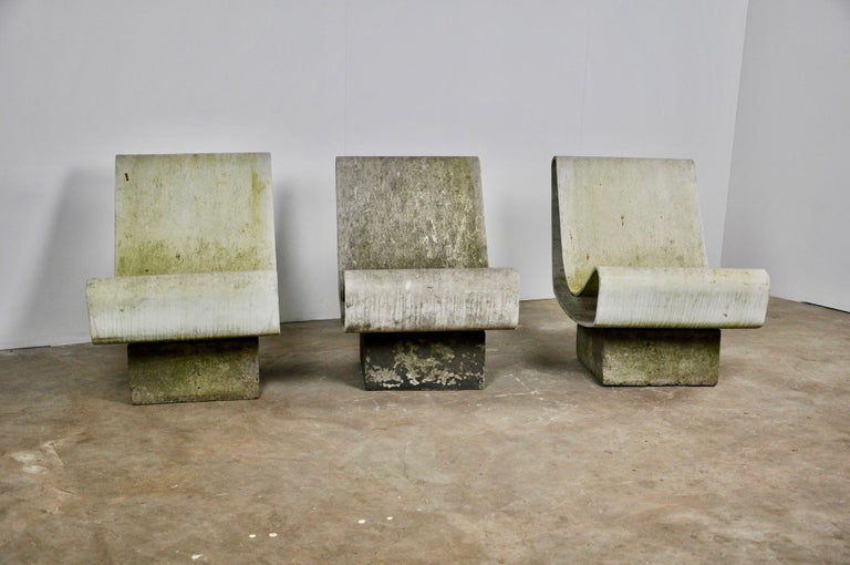 Cement Set of Three Willy Guhl Loop Chairs on Concrete Pedestals For Sale