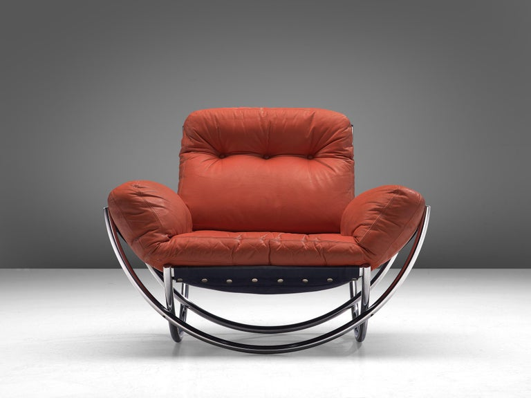 Lennart Bender for Wibro AB, 'Wilo' lounge chair, leather, fabric and chromed steel, Sweden, 1967 Modern lounge chair designed by the Swede Lennart Bender. The model feature a quintessential tubular chromed frame, consisting of four semicircles that