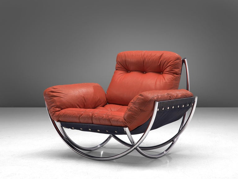 Mid-Century Modern 'Wilo' Lounge Chair in Red Leather by Lennart Bender For Sale