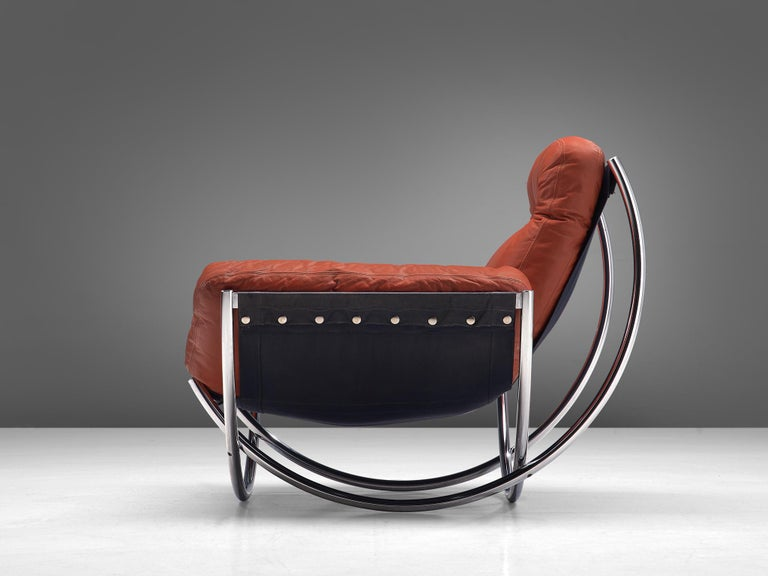 Swedish 'Wilo' Lounge Chair in Red Leather by Lennart Bender For Sale
