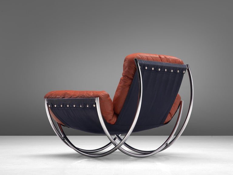 'Wilo' Lounge Chair in Red Leather by Lennart Bender In Good Condition For Sale In Waalwijk, NL