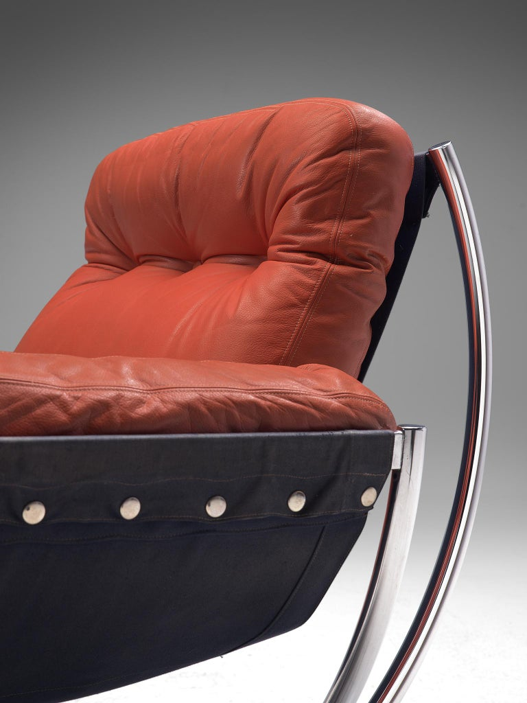 Metal 'Wilo' Lounge Chair in Red Leather by Lennart Bender For Sale