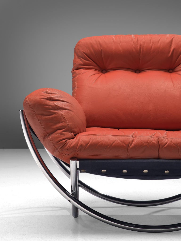 'Wilo' Lounge Chair in Red Leather by Lennart Bender For Sale 1
