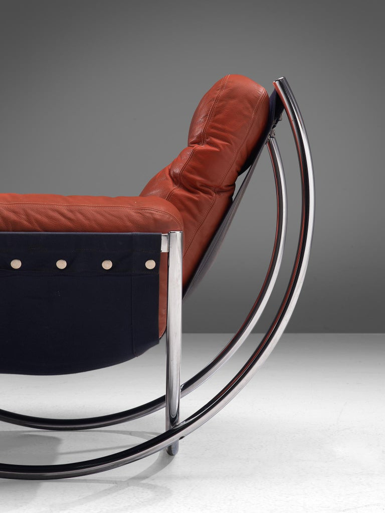 'Wilo' Lounge Chair in Red Leather by Lennart Bender For Sale 2