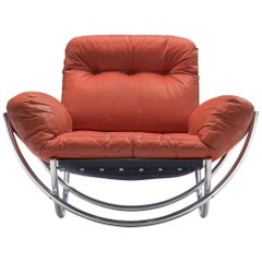 'Wilo' Lounge Chair in Red Leather by Lennart Bender