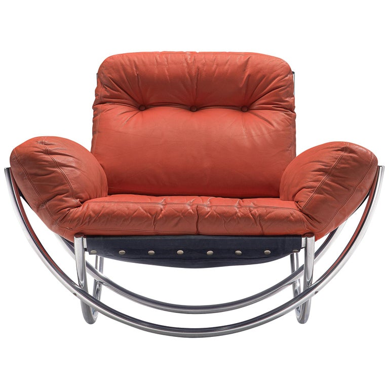 'Wilo' Lounge Chair in Red Leather by Lennart Bender For Sale