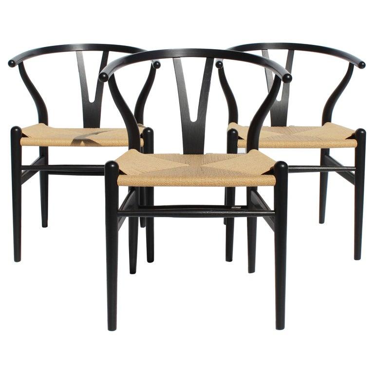 Set of Three Wishbone Chairs, Model CH24, by Hans J. Wegner For Sale