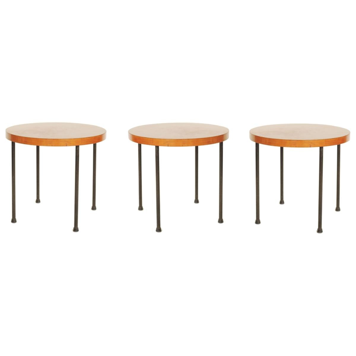 Set of Three Wood and Metal Side Tables France or Italy, 1950s