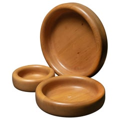 Set of Three Wood Centerpieces by Ingo Knuth
