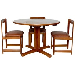 Set of Three Wood Chairs and Dining Table by Guillaumes, circa 1960