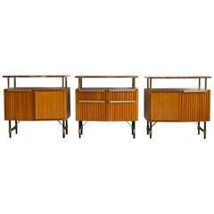 Set of Three Wooden Sideboards with Brass Details and Marble Top