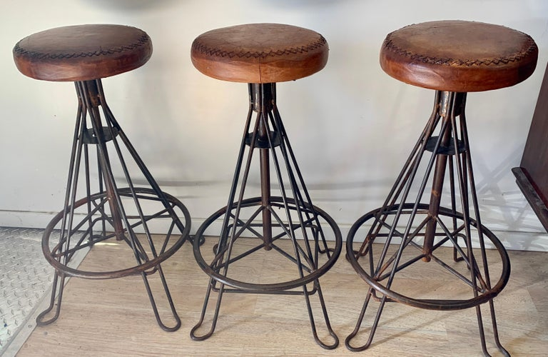 Organic Modern Set of Three Wrought Iron and Stitched Leather Bar Stools For Sale