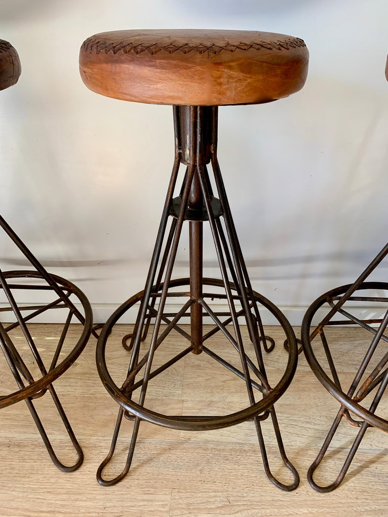Hand-Crafted Set of Three Wrought Iron and Stitched Leather Bar Stools For Sale