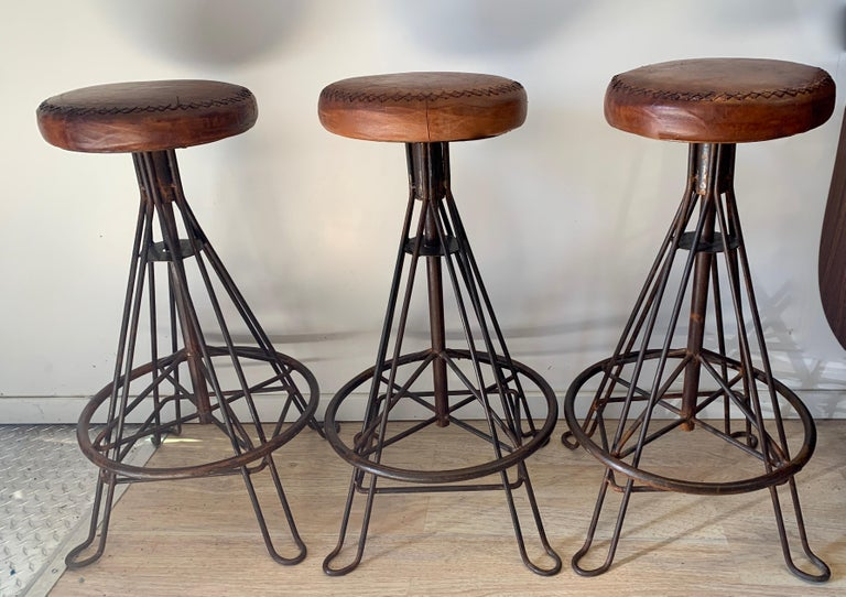 Set of Three Wrought Iron and Stitched Leather Bar Stools In Good Condition For Sale In Los Angeles, CA