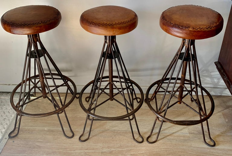 Set of Three Wrought Iron and Stitched Leather Bar Stools For Sale 1