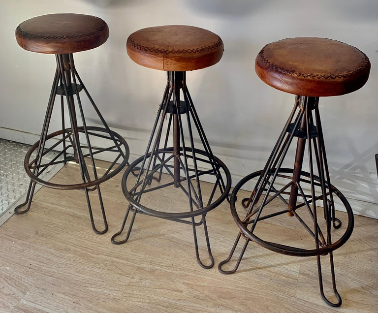 Set of Three Wrought Iron and Stitched Leather Bar Stools For Sale 2
