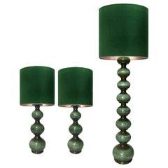 Set of Three Xl Ceramic Lamps with New Silk Custom Made Lampshades René Houben