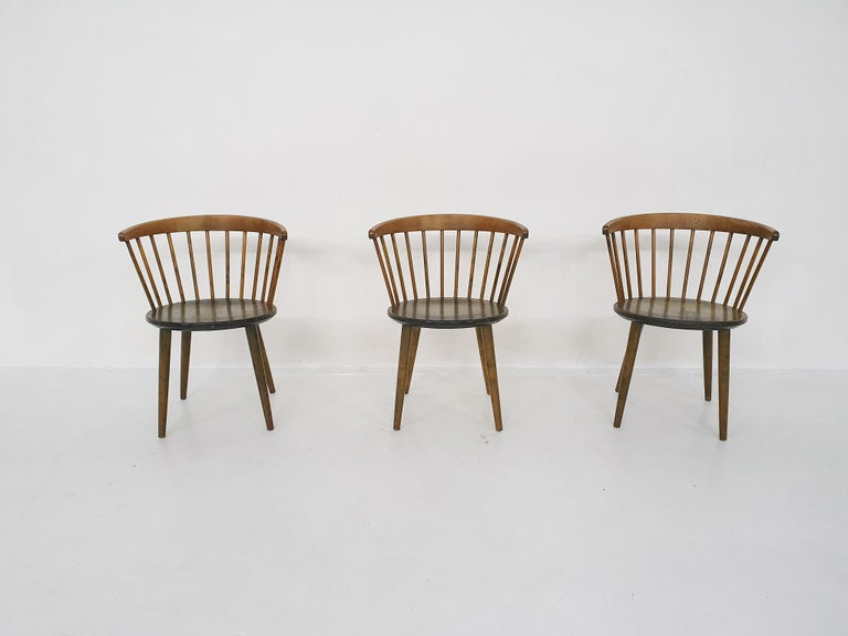 Mid-Century Modern Set of Three Yngve Ekstrom for Nesto Spindle Back