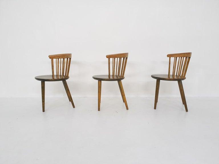 Set of Three Yngve Ekstrom for Nesto Spindle Back