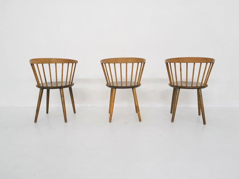 Mid-20th Century Set of Three Yngve Ekstrom for Nesto Spindle Back
