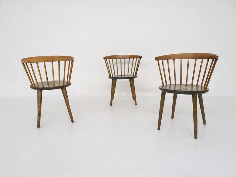 Oak Set of Three Yngve Ekstrom for Nesto Spindle Back