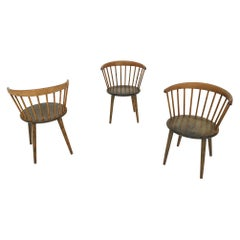 """Set of Three Yngve Ekstrom for Nesto Spindle Back """"Circle"""" Chairs, Sweden 1950's"""