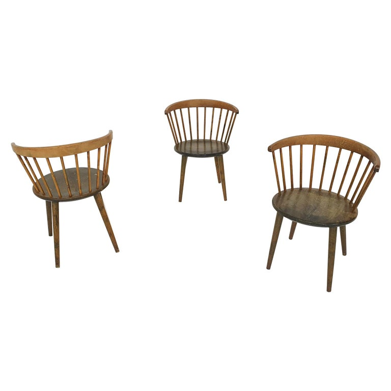 """Set of Three Yngve Ekstrom for Nesto Spindle Back """"Circle"""" Chairs, Sweden 1950's For Sale"""