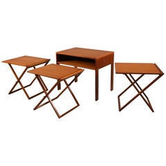 Set of Three Teakwood Folding Tables Stored in End Table by Illum Wikkelsø