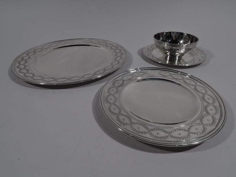 Regency Revival Set of Tiffany Winthrop Sterling Silver Dinner Plates and Bowls For Sale
