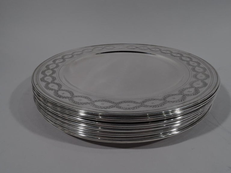 American Set of Tiffany Winthrop Sterling Silver Dinner Plates and Bowls For Sale