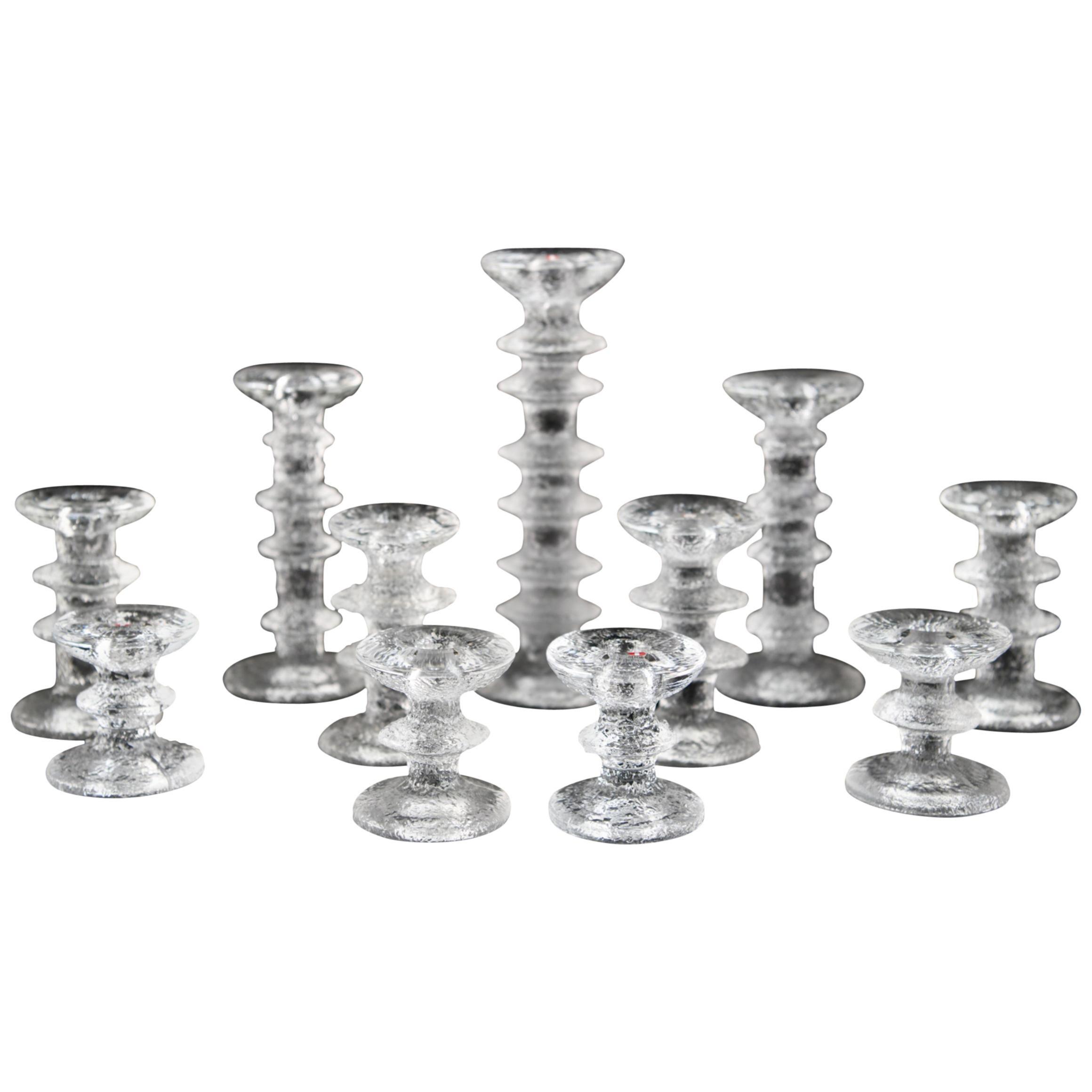 Set of Timo Sarpaneva for Iittala Ice Glass Candlesticks