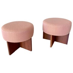 Set of Two Mid-Century Modern Stools in Mahogany, USA, 1950s