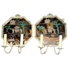 Set of Tole Chinoiserie Sconces with Mirror Backs, Sold Per Pair
