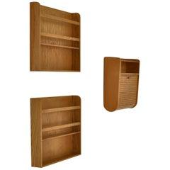 Set of Tove & Edvard Kindt-Larsen Wall Mounted Cabinet & Shelves, 1930s
