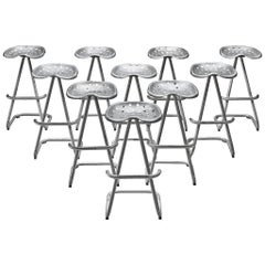 "Set of ""Tractor"" Silver Stools, 1960s"
