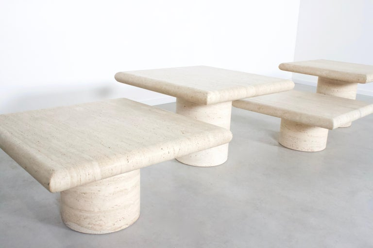 Mid-Century Modern Set of Travertine Up&Up Tables, Italy, 1970s For Sale