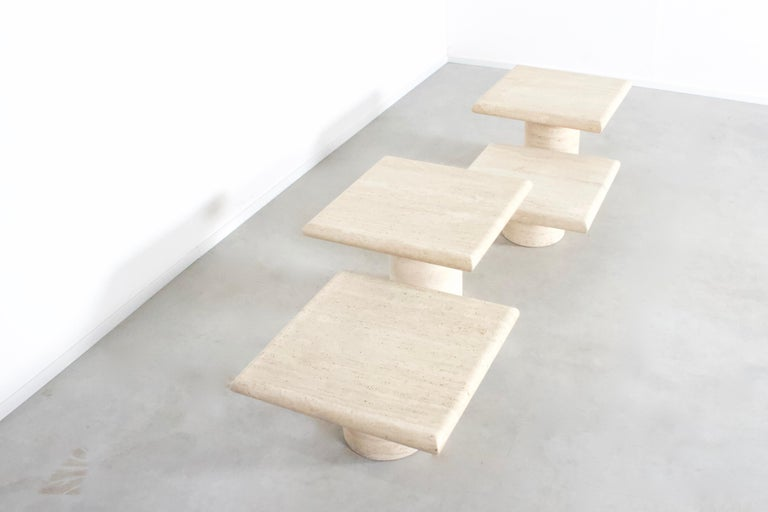 Italian Set of Travertine Up&Up Tables, Italy, 1970s For Sale