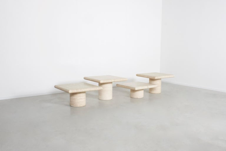 20th Century Set of Travertine Up&Up Tables, Italy, 1970s For Sale