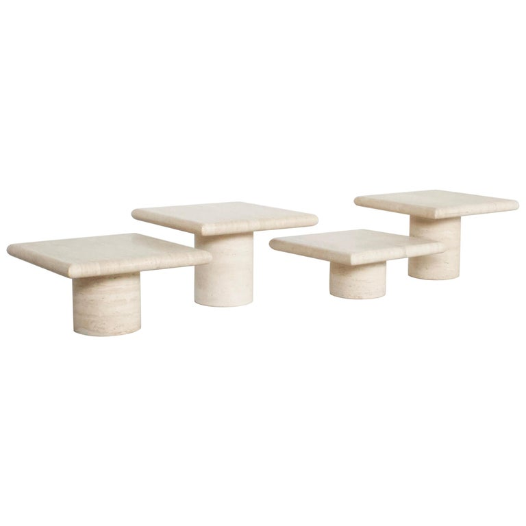 Set of Travertine Up&Up Tables, Italy, 1970s For Sale