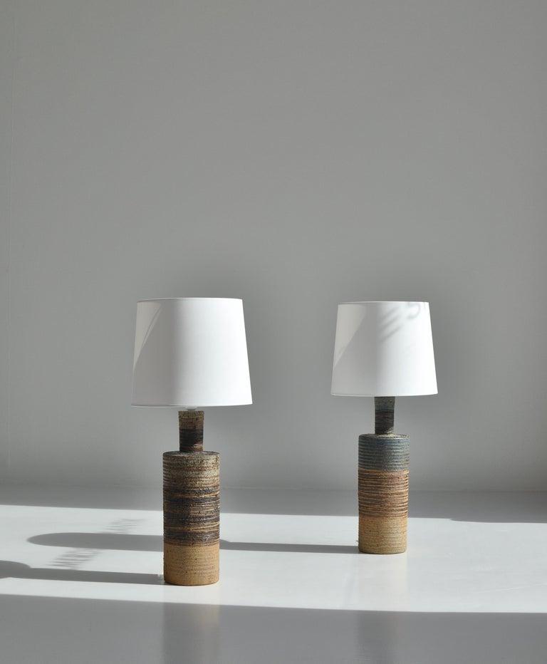 Danish Set of Tue Poulsen Scandinavian Modern Ceramic Floor Lamp in Earth Colors, 1960s For Sale