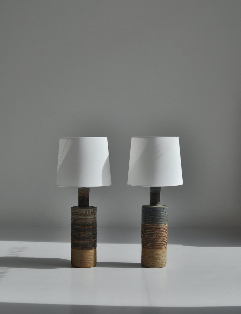 Set of Tue Poulsen Scandinavian Modern Ceramic Floor Lamp in Earth Colors, 1960s In Good Condition For Sale In Odense, DK