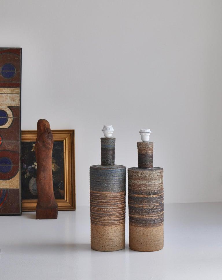 Set of Tue Poulsen Scandinavian Modern Ceramic Floor Lamp in Earth Colors, 1960s For Sale 2