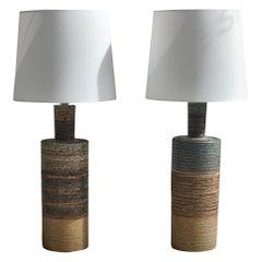 Set of Tue Poulsen Scandinavian Modern Ceramic Floor Lamp in Earth Colors, 1960s