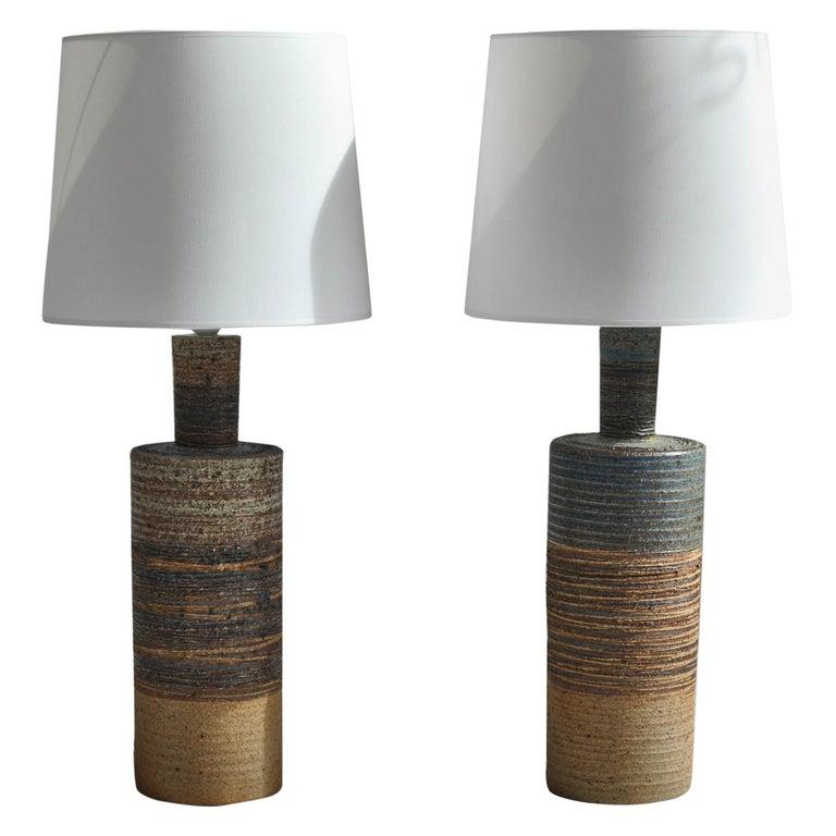 Set of Tue Poulsen Scandinavian Modern Ceramic Floor Lamp in Earth Colors, 1960s For Sale