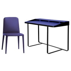 Set of 2 Blue Leather Chairs and Desk, by Gordon Guillaumier, In Stock