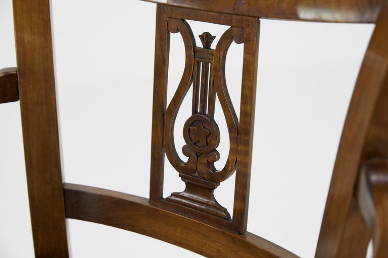 Set of Twelve 19th Century Austrian Cherrywood Dining Chairs For Sale 7