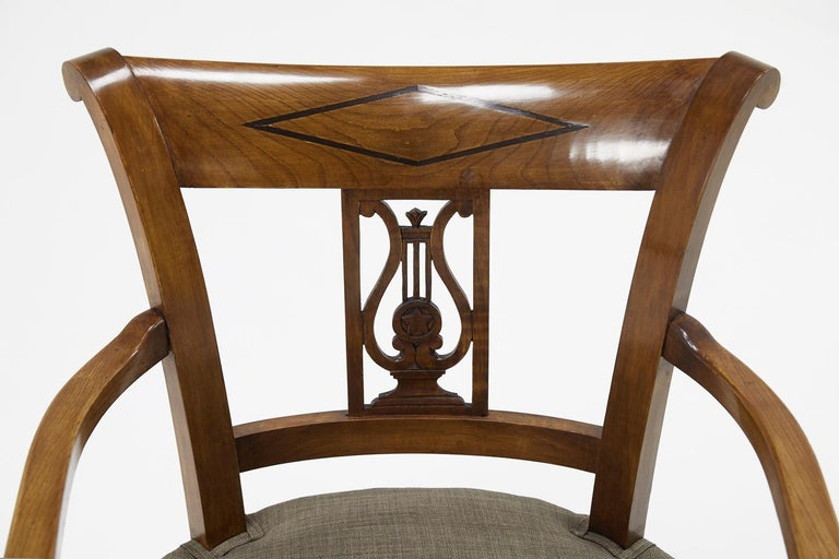 Set of Twelve 19th Century Austrian Cherrywood Dining Chairs For Sale 8